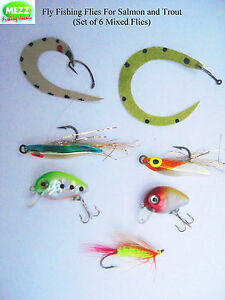 Fly-Fishing-Flies-For-Salmon-and-Trout-Set-of-6-Mixed-Flies