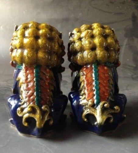 China Copper Bronze Cloisonne Gild FengShui Guardian Evil Fu Foo Dogs Lions Pair