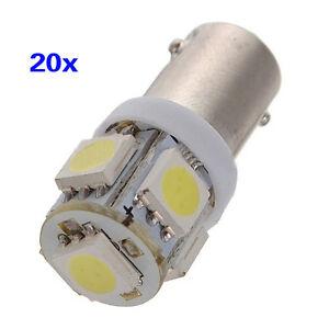 20X-T11-BA9S-T4W-H6W-363-Blanc-5-LED-5050-SMD-Voiture-Cale-Lateral-Lampe-12V-WT