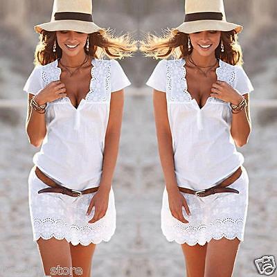 Women Summer Casual Dress V Neck Short Sleeve Lace Evening Party Beach Dress Hot