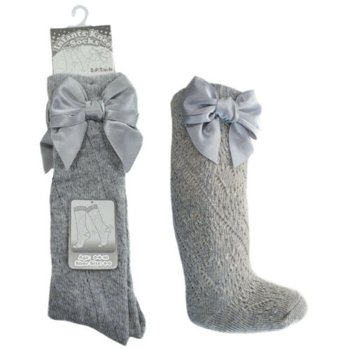 Baby Girl Grey Pelerine Ribbon Bow Knee High Length Socks Traditional Spanish