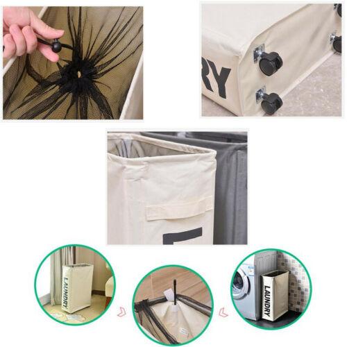 Laundry Basket Rolling Slim On Wheels Foldable Waterproof Washing Bin Hamper