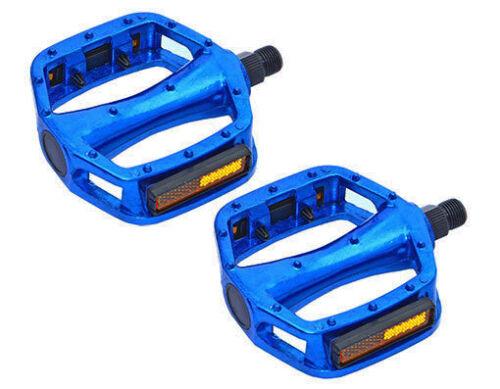"Blue Platform Bike Pedals 9//16/"" Fixed Gear Track BMX MTB Cruiser Fixie Bicycle"