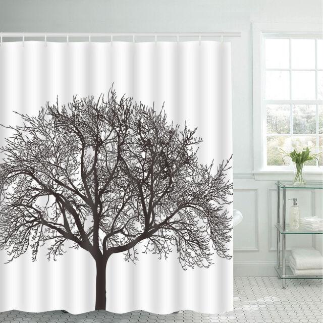 Impresión de árbol de Blanco y Negro Baño Cortina de ducha Ganchos a Prueba de Agua Arte incluyen