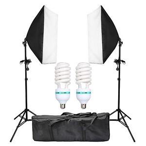 2 PCS Photography Lighting Softbox Stand Photo Equipment Soft Studio Light Kit 692754191716