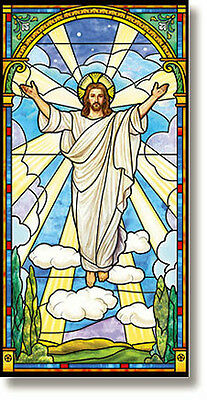 """Stained Glass Series Risen Christ Church Banner  2.5' Wide x 5"""" High"""