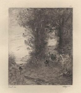 Camille-Corot-Pastorale-Eau-Forte-ancienne-Charles-Waltner-XIXe