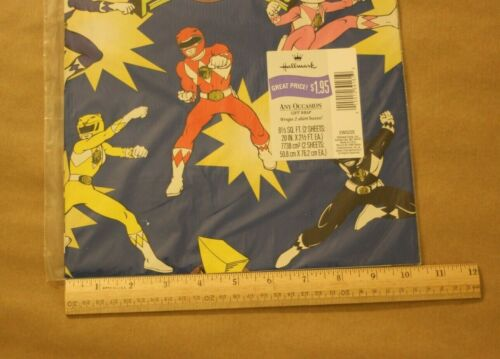 Mighty Morphin Power Rangers 1996 Vintage Hallmark Gift Wrap Wrapping Paper NIP