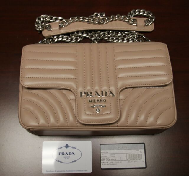 8f818193fdc4cb BRAND NEW PRADA Beige Medium Diagramme Leather Shoulder Bag, 1BD108,  MSRP:$2100