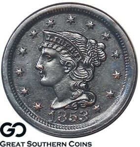 1853-Large-Cent-Braided-Hair-Super-Sharp-Strike-Definition-Free-Shipping
