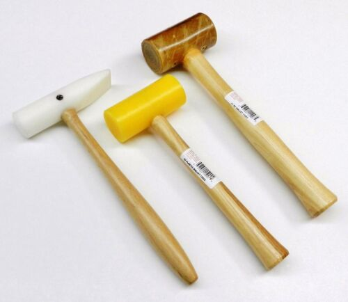 3Pc MALLETS Rawhide Nylon & Plastic NON Marring Hammer JEWELRY Making & Forming