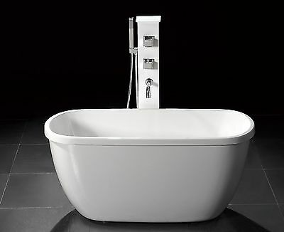 """55"""" SMALL ACRYLIC MODERN FREE STANDING BATHTUB & FAUCET clawfoot compact"""