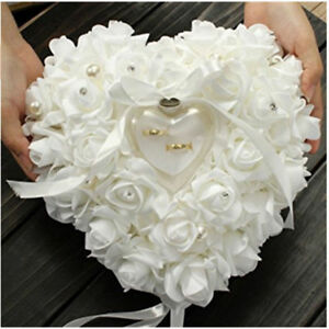 White-Wedding-Accessory-Ring-Pillow-Box-Heart-Shape-Double-Rose-Romantic-Flowers
