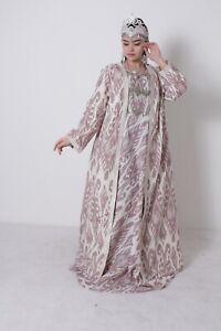 National-Uzbek-Silk-Beautiful-Adras-Traditional-Long-Dress-SALE-WAS-145-00