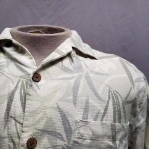 04e4e005 Tommy Bahama Green Floral 100% Silk Hawaiian Camp Aloha Shirt Men S ...