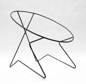 Mid-Century-Modern-Hoop-Patio-Chair-Wrought-Iron-Vintage-Hairpin-Leg