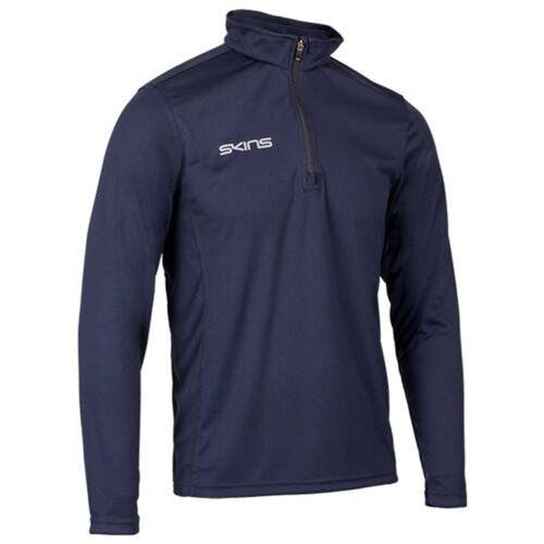 Skins 1//4 Zip Manche Longue Tech Haut-Homme-Bleu marine-Neuf-Sportswear