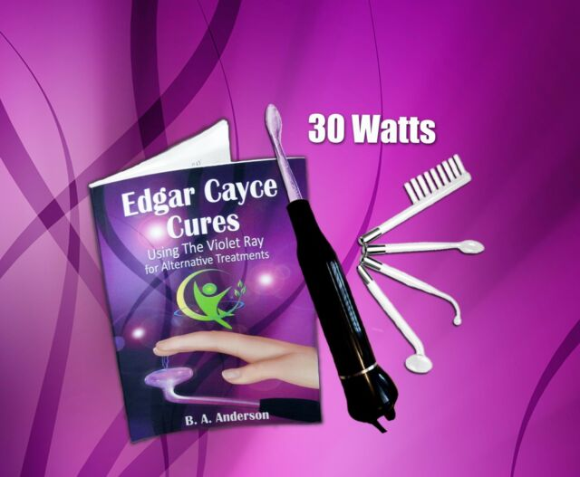 Edgar Cayce Cures Violet Ray High Frequency Wand W 4pc Electrodes and  Handbook