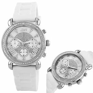 NEW JBW JB-6242-B Womens 20 Diamonds White Face Soft Silicone Bling Ladied Watch