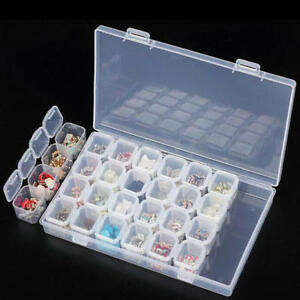 Clear-Plastic-28-Slots-Adjustable-Jewelry-Storage-Box-Case-Craft-Organizer-Beads