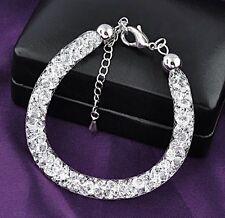 Oro blanco plateado Stardust pulsera con dijes de cadena Relleno Con Cristales Diamante