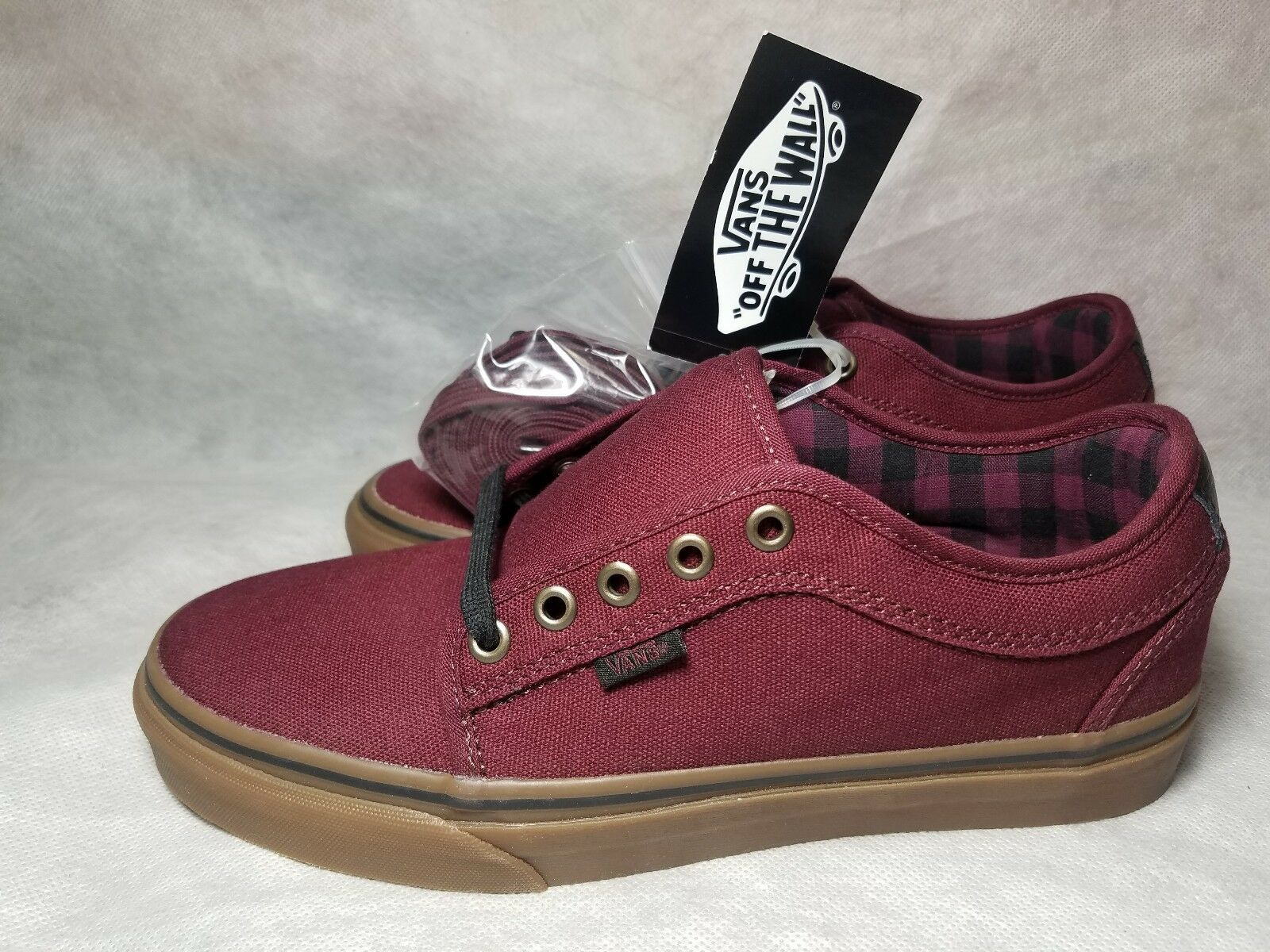 New Chukka Vans Chukka New Low Pro Canvas Plaid Leather Red Black Gum Skate Shoe Men Size 7 37eeda