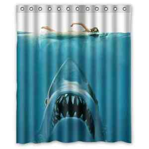Fashion bathroom custom shark with woman swimming shower Swimming pool shower curtain