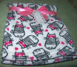 Zak And Zoey White With Whimsical Kitties Blanket 30 Quot X 30