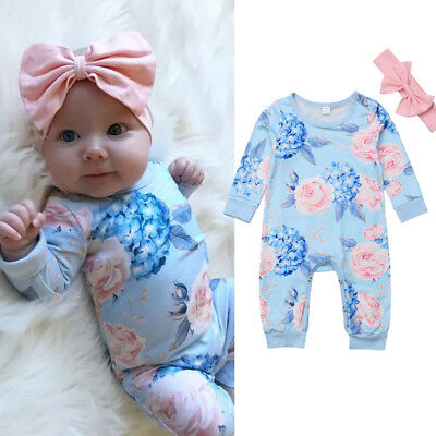 Newborn Baby Summer Floral Girl Clothes Jumpsuit Romper Bodysuit+Headband Outfit