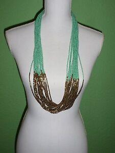 Vero-Moda-Halskette-mint-goldfarbend-Modeschmuck-Steine-Perlen-Neu