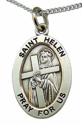 """Sterling Silver St Philomena Medal Pendant Charm 7//8/"""" Oval"""