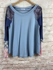 Ces-Femme-Womens-Blue-Floral-Thermal-Sleeve-Blouse-Top-Size-Medium