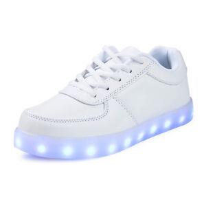 size 40 f235e e3715 Details zu LED Schuhe Licht Sneaker Leuchtende Herren Damen Blinkschuhe  Farbwechsel Weiß