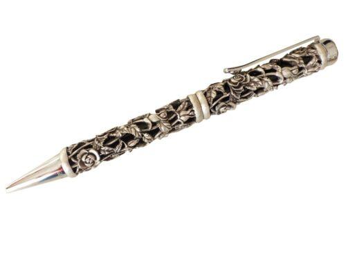 Kugelschreiber Schwarz//Silber Rosen Ranke 3D Metall Stift Ball Pen mit Etui