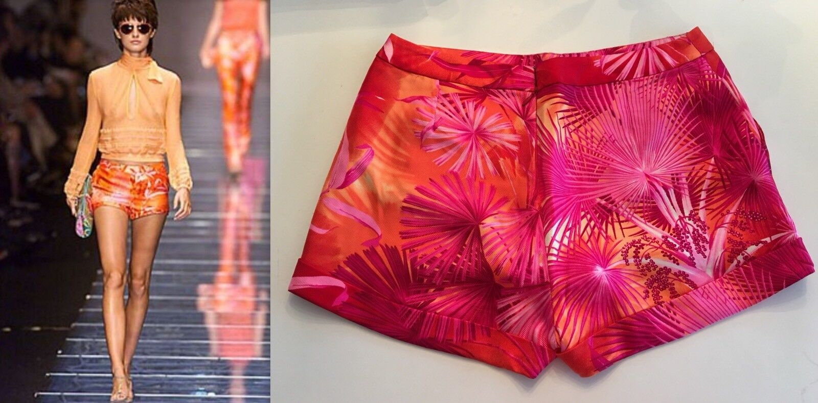 Vintage GIANNI VERSACE RUNWAY SS 2000 Sexy Silk Pants Shorts ICONIC PRINT