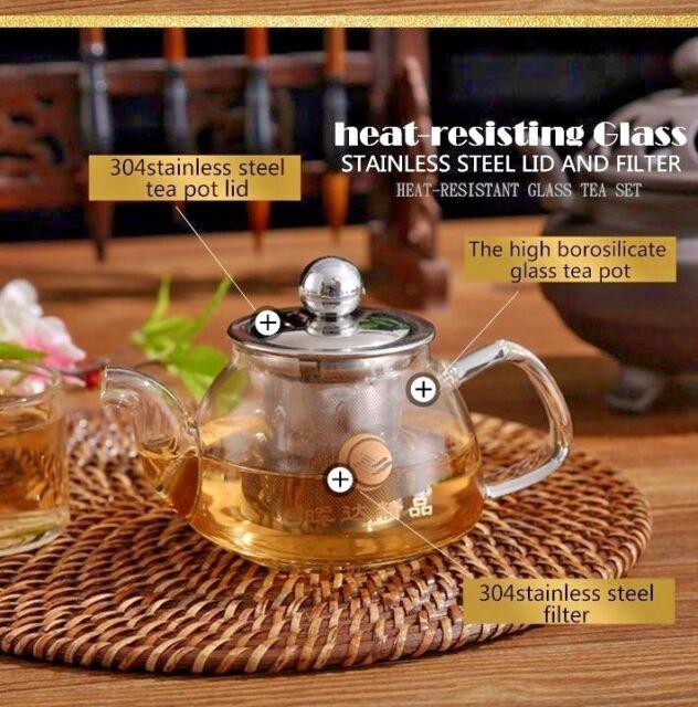 2pcs Gl Infusion Tea Coffee Pot With