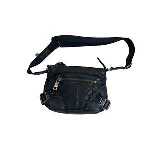 l.a.m.b. gwen stefani black leather crossbody purse