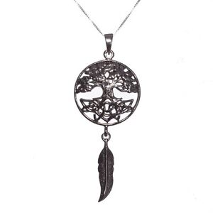 Sterling silver 925 tree of life dream catcher pendant necklace lisa image is loading sterling silver 925 tree of life dream catcher mozeypictures Images