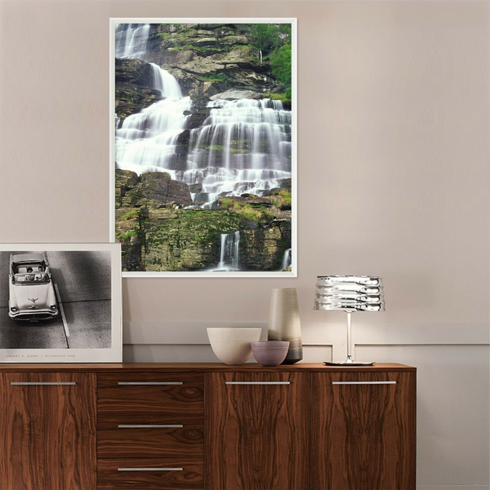 3D Weiß Waterfall  3 Framed Poster Home Decor Print Painting Art AJ WALLPAPER