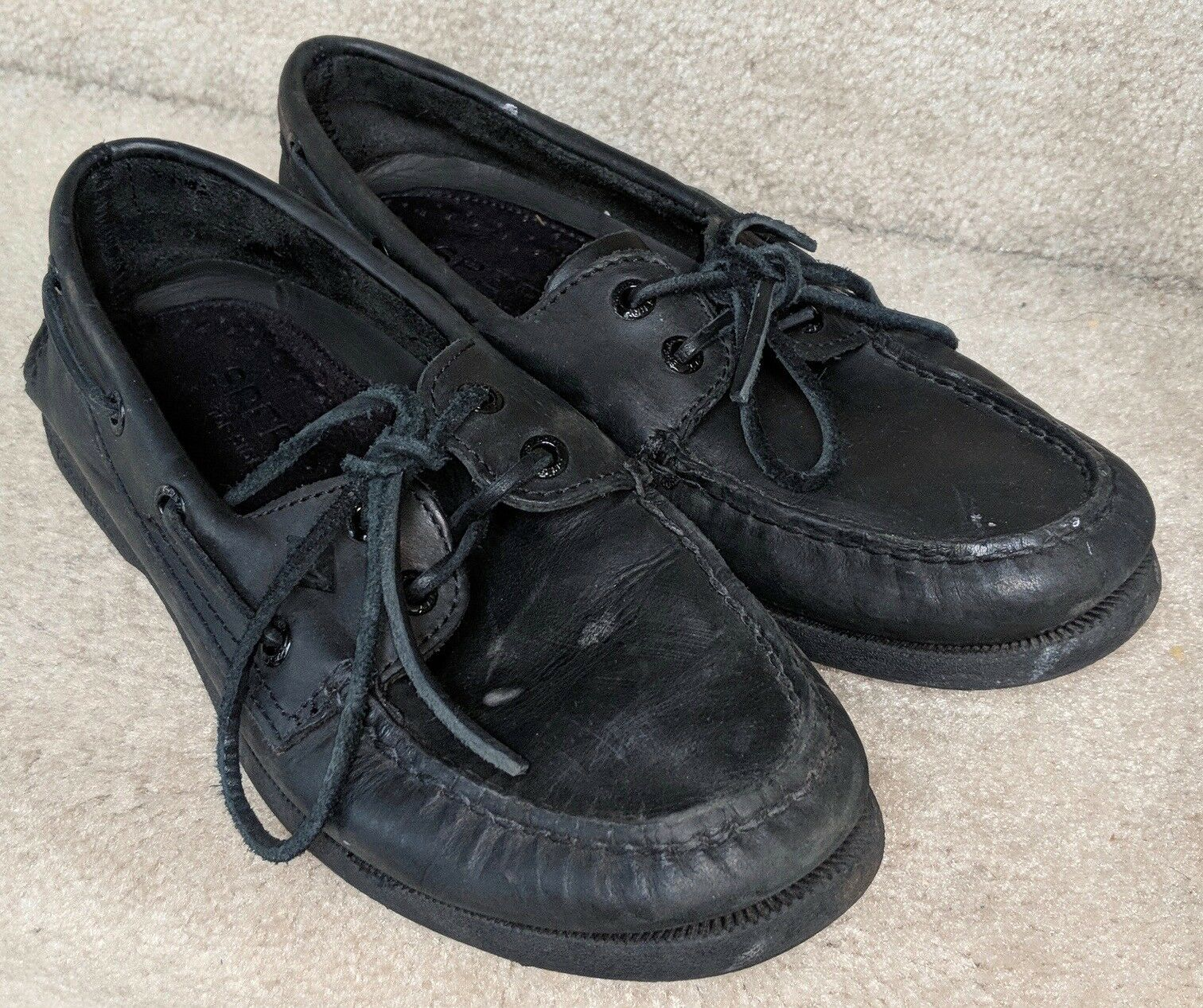 Mens Sperry Top-Sider Leather Original Boat Shoe Black Leather Top-Sider Size 7.5M 62d3b4