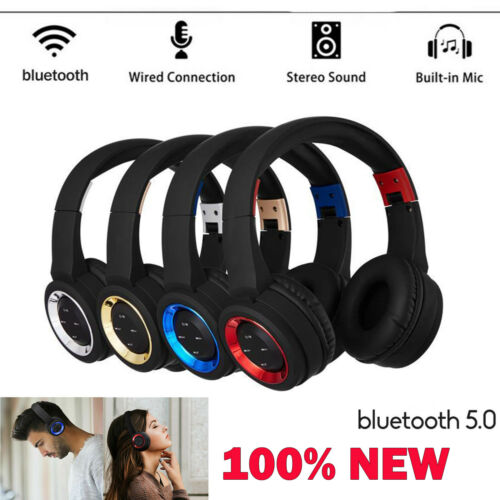 UK Wireless Headphone Bluetooth 5.0 Headset Noise Cancelling Over-Ear +Mic FHSW