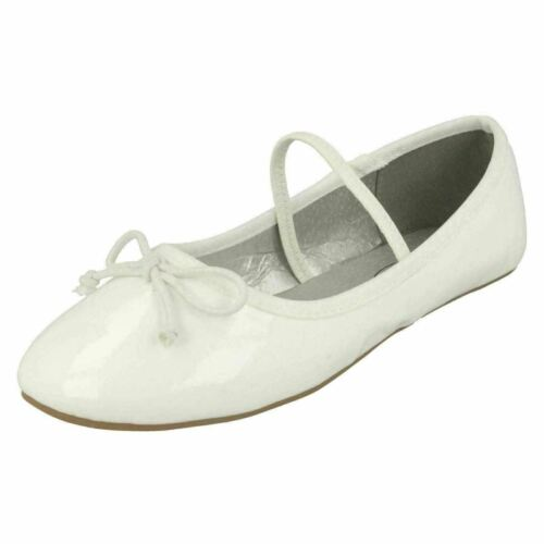 Ideal for first holy communion//confirmation Girls White Dolly Shoes H2R489