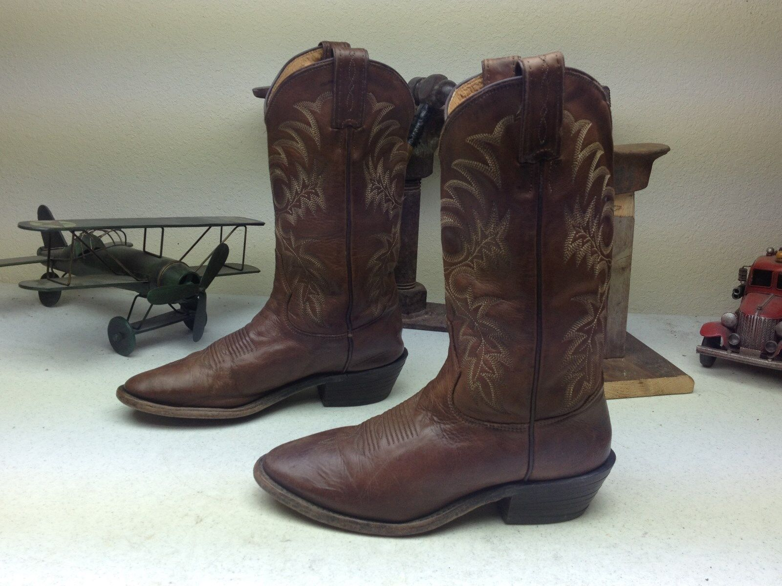 MADE IN USA TONY LAMA VINTAGE DISTRESSED BROWN LEATHER WESTERN COWBOY BOOTS 7 D
