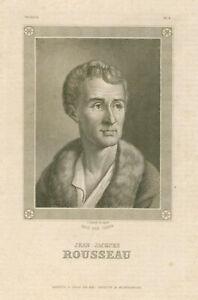 Details About Original Antique Engraving Portrait Of Jean Jacques Rousseau Germany