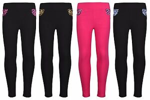 44b11ba5395795 Image is loading Girls-Children-Skinny-Jeans-Side-Leopard-Print-Soft-