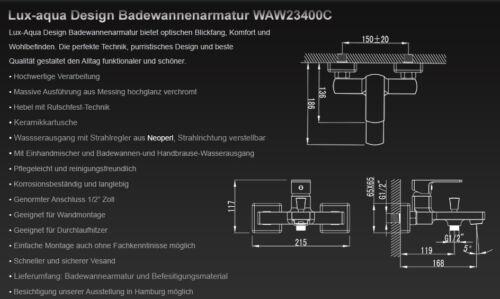Lux-aqua Design Waschtischarmatur Badewannen//Duscharmatur Messing verchromt GS