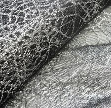 Black Lace Silver Glitter Spiderwebs Net Fabric *Per Metre