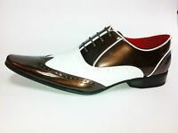 Mens Patent Leather Look Spats Brogues Lace Up Shoes Dark Brown/white