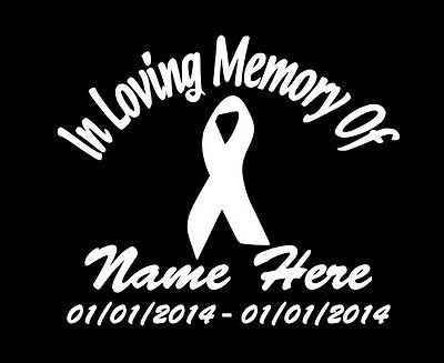"In Loving Memory Of CANCER RIBBON 10/"" Decal Window Custom Memorial car decals"