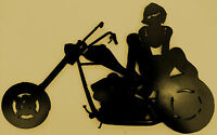 Motorcycle,biker Chick,female Rider,metal Art,chopper,women Motorcycle Riders